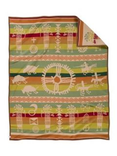 PENDLETON Blanket Painted Rock Native American Design, Twin Size