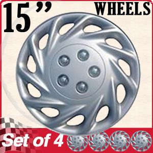 Hub Cap ABS Silver 15 inch Rim Wheel Skin Cover Center 4 PC Caps Set