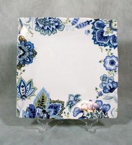 222 Fifth Mirabelle Square Dinner Plate Blue Floral New