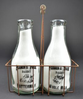 Farmers Pride Dairy Buttermilk & Whole Milk 2 Quart Bottles Basket