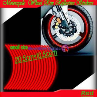 Motorcycle Wheel Rim Reflective Stickers Red Small Size