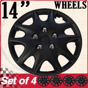 Hub Caps ABS Black 14 Inch Rim Wheel Skin Hubcaps Cover Center Cap