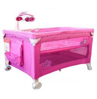 New Fisher Pink Petal 2 in 1 Travel Cot Bassinet Price 0027084807479