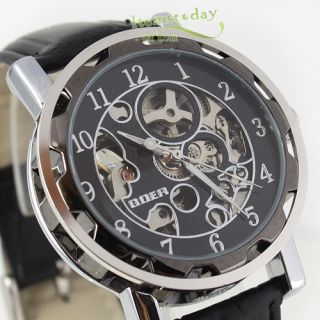 Fashion Luxury Goer Auto Mechanical Skeleton Men Watch Silver Black PU