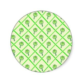 St. Patricks wallpaper with shamrocks and squares Round Sticker