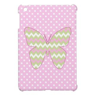 Pink and Lime Zigzag Chevrons Butterfly iPad Mini Case