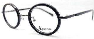 Unisex Vintage Retro Oval Round Black Gray Optical Eyeglass Frame RX