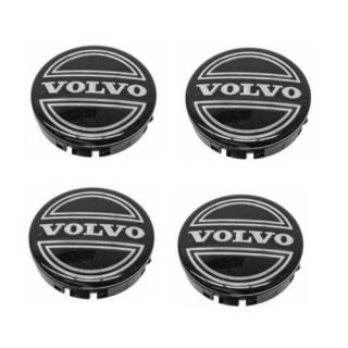 New Genuine Volvo Wheel Center Caps 4 Black Chrome