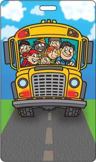 Flip Lenticular Luggage Bag Travel Tag Cartoon Kid School Bus LT01 270