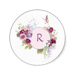 Pink Floral Monogram Sticker