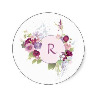 Pink Floral Monogram Sticker