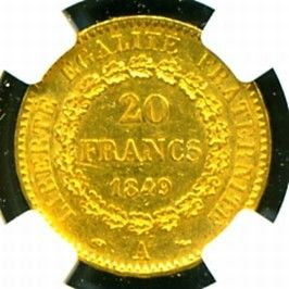 1849 FRENCH ANGEL GOLD COIN 20 FRANCS * NGC CERTIFIED GENUINE & GRADED