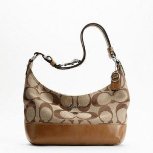 Authentic Coach Pieced 24cm Signature Duffle Bag Purse Handbag F17491