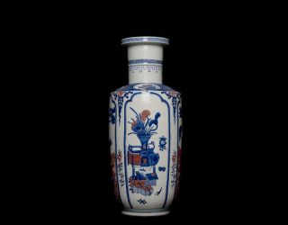 Large Chinese Antique Blue and White Porcelain with Red Rouleau Vase