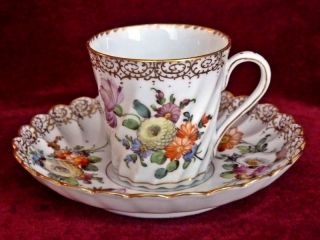 Antique Dresden Porcelain Coffee Cup Can Saucer Dresden Crown Mark