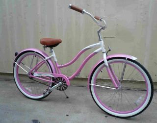 New 26 Alloy Aluminum Frame Beach Cruiser Bicycle Bike Pink Micargi