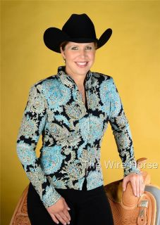 New Wire Horse Turquoise Blk Print Rail Shirt wth AB Stones 11603AB