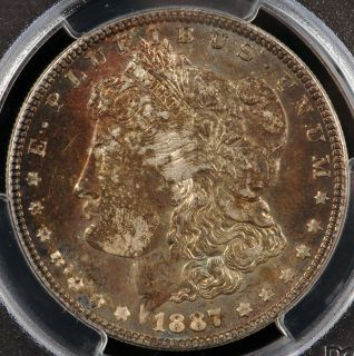 1887 Morgan Silver Dollar PCGS MS63 w Heavily Toned Obverse