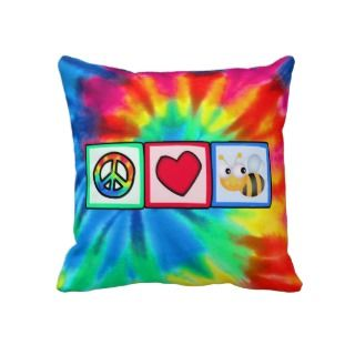 Peace, Love, Bees hrow Pillows
