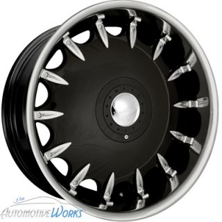 New 20x8.5 Fusion Solace Gloss Black w/ Stainless Lip Wheels 5x112