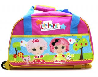New Lalaloopsy Pink Rolling Luggage Wheeled Travel Duffle Gym Bag