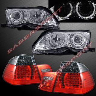 02 05 BMW E46 4DR SEDAN HALOGEN TYPE HALO PROJECTOR HEADLIGHTS + LED
