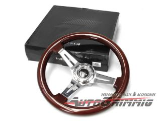 NRG Steering Wheel Classic Wood w Chrome Spoke 350mm WRX STI Lancer