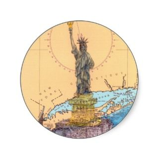 Statue of Liberty New York Nautical Chart Art Peek Stickers