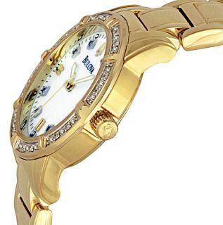 Bulova Ladies 24 Diamond Gold Dress Watch 98R135