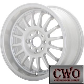 15 White Konig Retrack Wheels Rims 4x100 4 Lug Civic Mini XB Cobalt