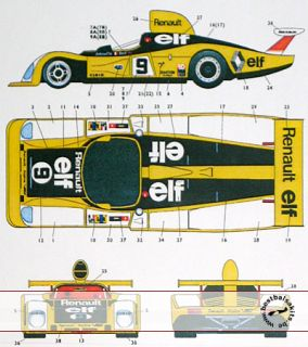 Studio 27 decal set to fit Tamiyas 1/24 RENAULT ALPINE A442 model kit