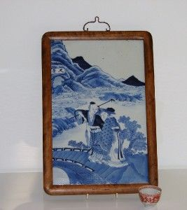 Antique Chinese Porcelain Blue and White Plaque Figures 19th C Signed