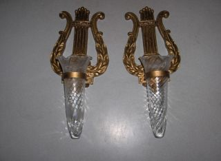Pair Vintage Syroco Wood Candle Lyre Sconces Glass Candleholders Vases