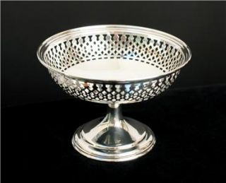 Antique Vintage Sterling Silver Reticulated Compote Bon Bon Dish 1900