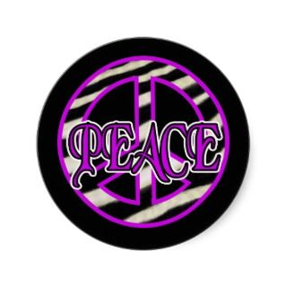 Zebra Print Peace Sign Round Sticker