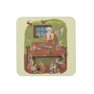 Vintage Christmas Santa with Elves in the Workshop Beverage Coaster