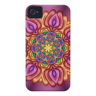 Pink Floral Fractal iPhone 4 Case Barely There