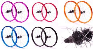 NEW BMX BIKE 20 FRONT & REAR WHEELS WITH 9 T DRIVER 5 COLOUR CHOICE
