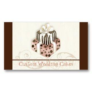 Wedding Cake Modern Dot Stripe Swirls Business Card