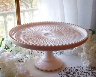 EXQUISITE JEANETTE HARP SHELL PINK MILK GLASS PEDESTAL CAKE STAND