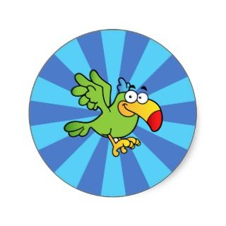 Green Cartoon Parrot Round Stickers