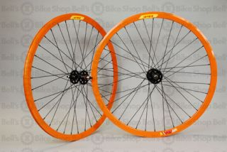 Velocity Deep V Track Wheels Orange Fixed Gear 700c