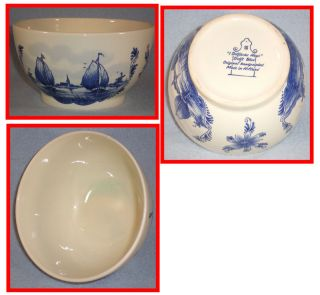 Delft Porcelain 6 inch Serving Bowl Sailboats Windmill Flowers Holland