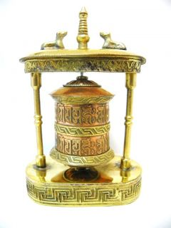 R423 Very Artistic Table Top Tibetan Prayer Wheel OM Mane
