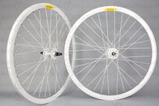 Velocity Deep V Track Wheels Solid White Fixed Gear