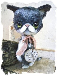 Antique RETRO Style ★ Big Eye Sad Pity Kitty CAT  Needs A Home★by