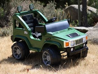 Battery Power Kids Ride on Hummer Jeep w Big Wheels R C Remote