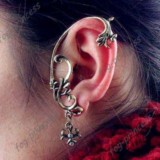 Gothic Earring Vintage Antique Bronze Flower Leaf Ear Cuff Warp Clip