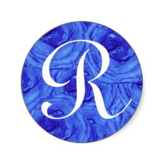 Monogram Letter R Blue Rose Sticker