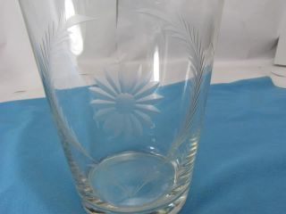 Vintage Glass Vase Etched Daisy